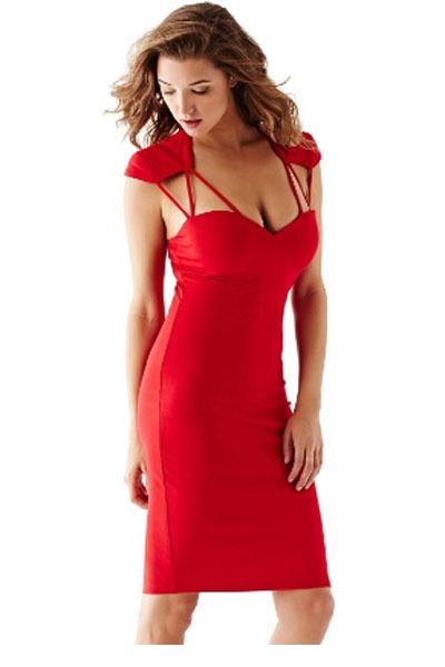 8fd2b196df9 Get Quotations · 2015 Sexy Strappy Cutout Slim Bodycon Midi Dresses Casual  Chest Wrapped Short Backless Dress Women s Fitting
