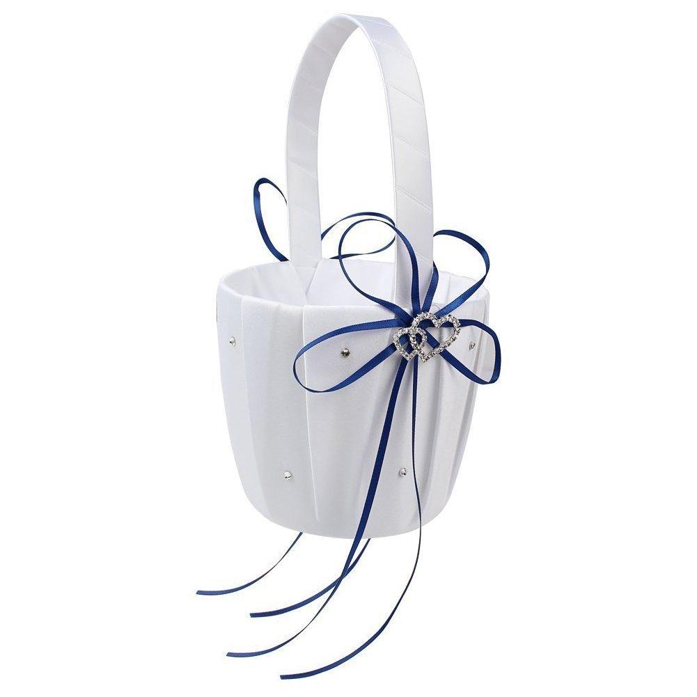 SODIAL(R) Double Heart Wedding Flower Girl Basket White Satin Rhinestone Decor Deep Blue Wedding Party Favor