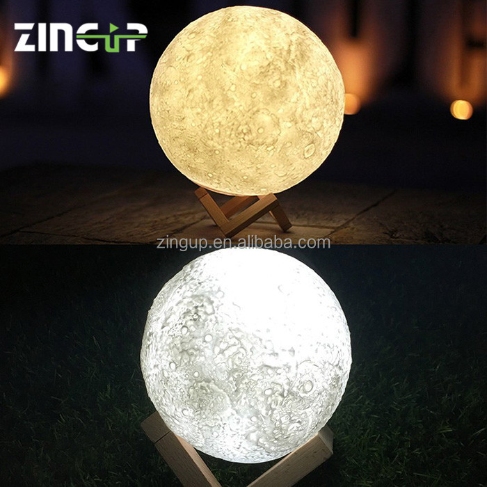 3D Print Creative Gift Lunar Lamp USB LED Night Light 3D Moon Lamp