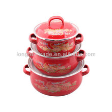 hot sale red color 3 pcs enamelware