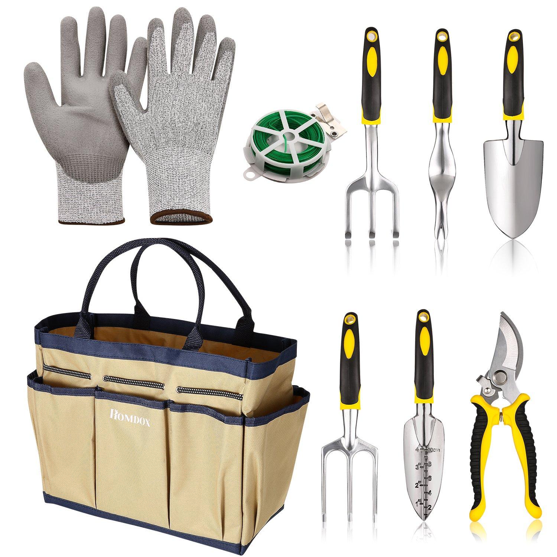 9 Piece Garden Tool Organizer | Garden Tools Set | Garden Tool Organizer Gardening Tote | Digging Claw Gardening Gloves Gardening Gifts Tool Set | Vegetable Garden Tool Kit | Gift Tot (9 Pieces-Beige)