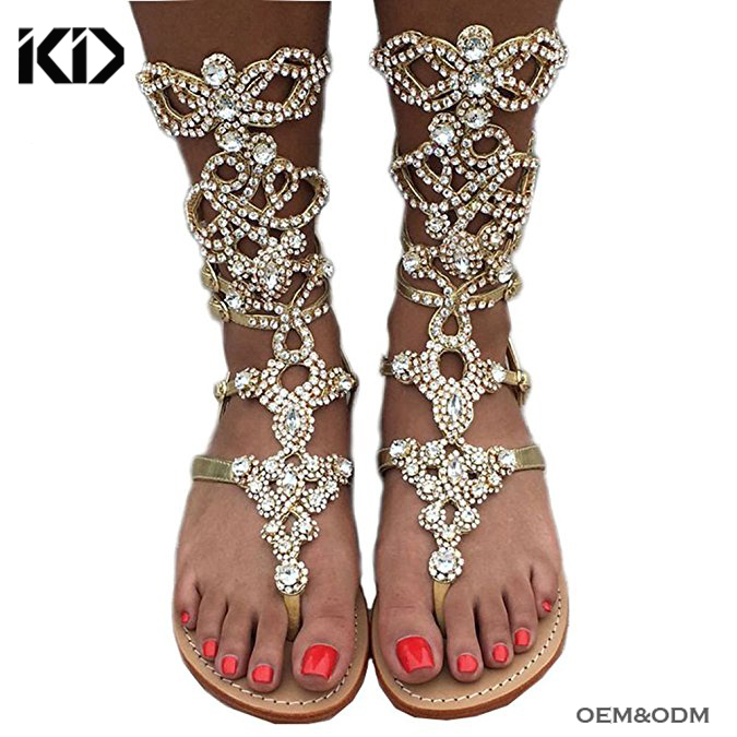 2018 Summer Shoes Handmade Rhinestone Embellished Thong Flat Gladiator <strong>Sandals</strong> Women