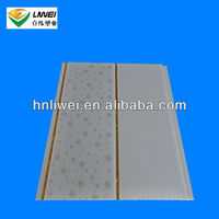 half color design pvc wall panel with gold line