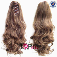 Top grade wholesale virgin remy brazilian hair clip ponytail