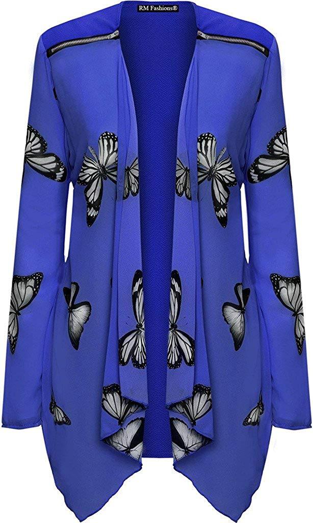 b457a34c3a7 Get Quotations · RM Fashions Women s Plus Size Long Sleeve Chiffon Zip  Shoulder Butterfly Print Sheer Cardigan Top (