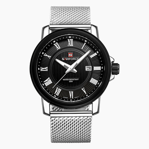 NAVIFORCE Luxury Brand Men's Quartz Watch Casual Men Sport Wrist Watches Stainless Steel Strap Silver Mesh Band Date Waterproof