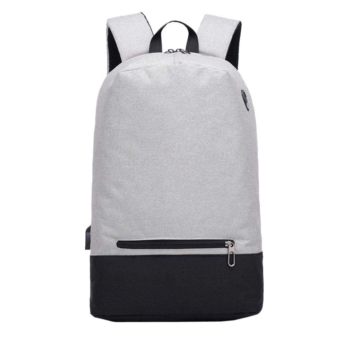 Mens School Backpack Anti-theft College Student Travel Work Shoulder Bag Daypack With USB Jack (Gray)