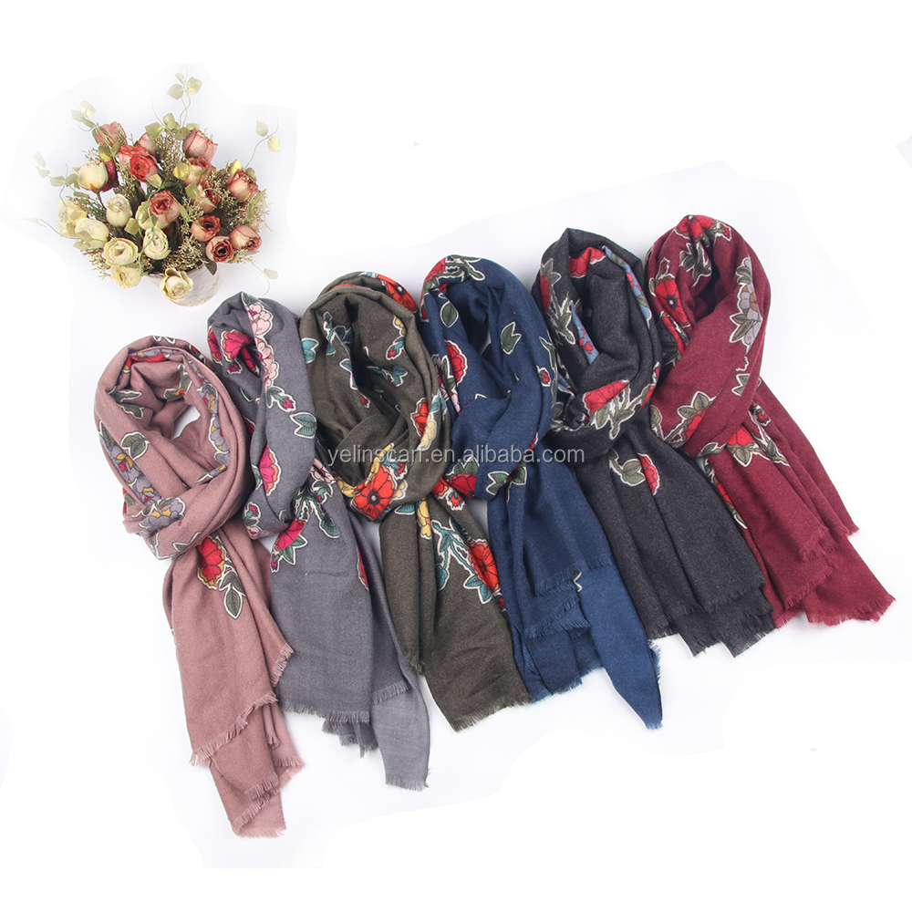top quality soft &worm multi color flower printed factory direct wholesale fashion customized pashmina cotton scarf