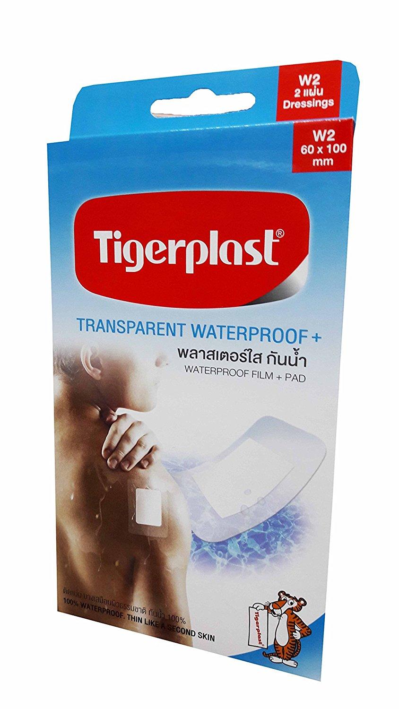 Tigerplast, 2 packs of Tigerplast Transparent Waterproof+. Waterproof Film + Pad, Transparent Film, Absorbent Pad, Non-stick Pad, 60 mm. x 100 mm. (2 dressings/ pack)