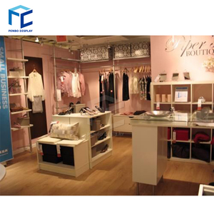 custom Modern Fashionable Garment Small Retail Shop Design with clothes  Display Stand