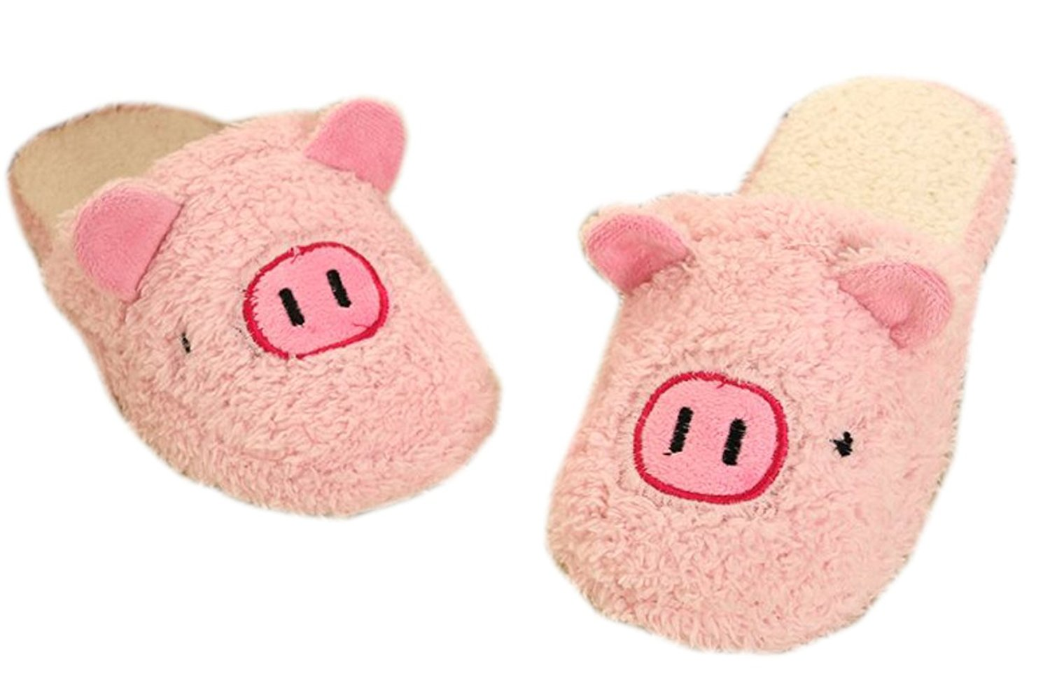 22e2f576f2a Get Quotations · Cartoon Pink Pig Animal Slippers Soft Plush Indoor Shoes