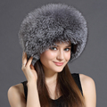Real Fur Bomber Hats For Women Leather Top Solid Russian Grey Black White Female Headgear Female