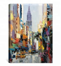 Famous city art painting New York Chrysler Building palette knife modern wall art oil paintings for living room wall