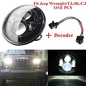 "Pink Lizard H4 40W 7"" LED Headlight Hi-Lo Fit 2007-2015 Jeep Wrangler JK TJ LJ 0547891"