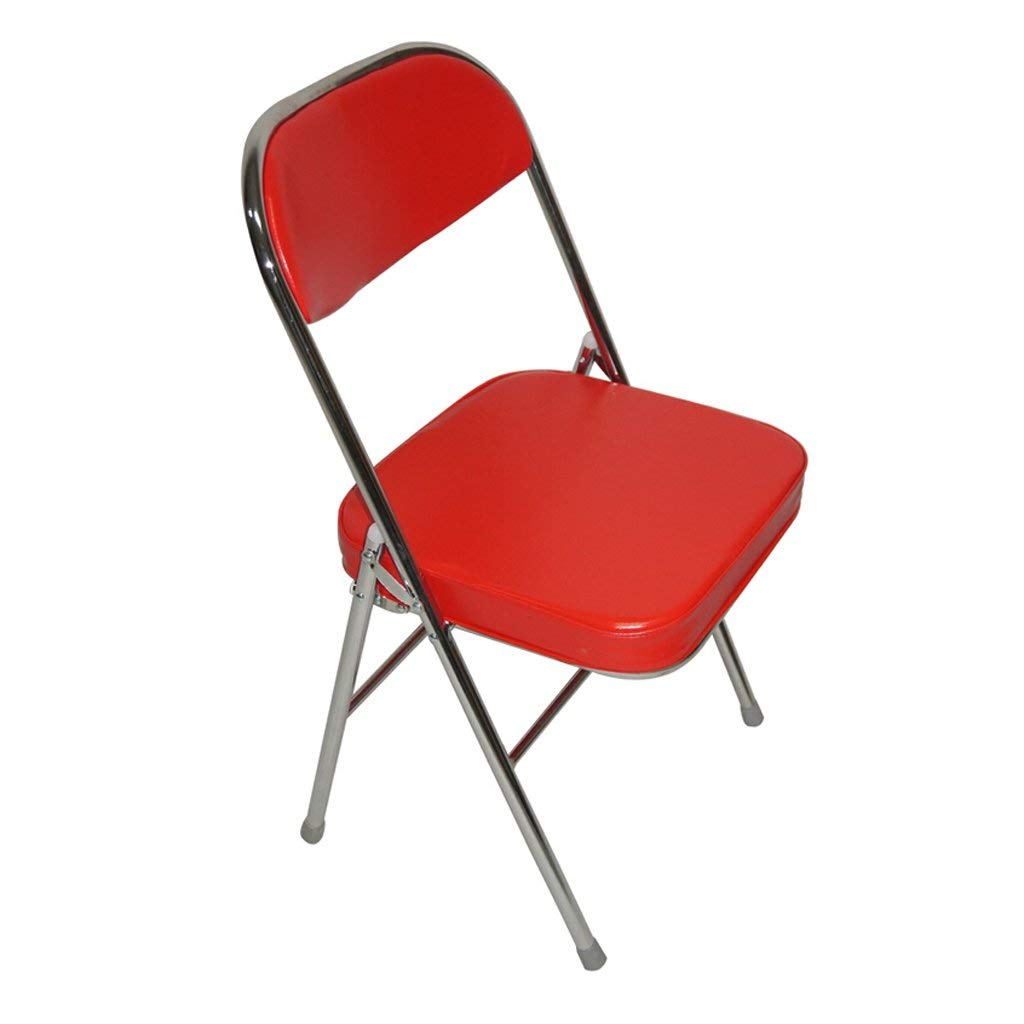 GFL Chairs Folding Chair Steel Material Office Training Conference Chair Backrest Household Dining Book Room Leather Sponge-filled Chair Red (A+++)