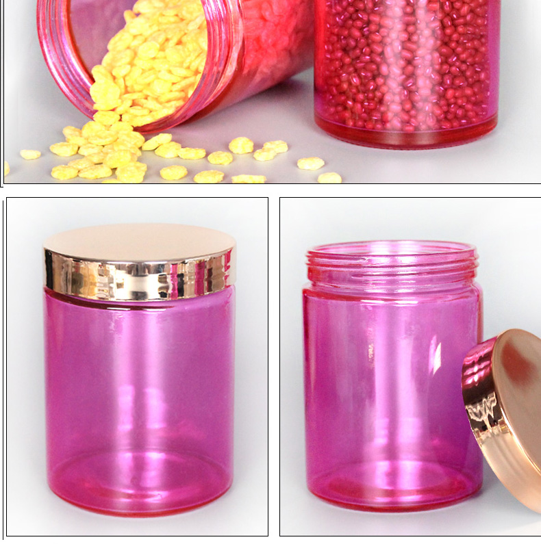 Food Grade 500ml Straight Round Glass Jar For Candy Tea With Plastic Lid
