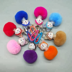 Promotions small gifts rabbit fur ball keychains cat diamond metal key chain for car bag charm
