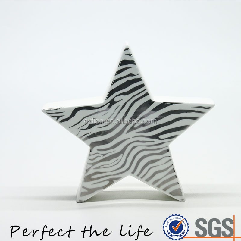 Golden Zebra Ceramic Star Christmas Star Home Decoration
