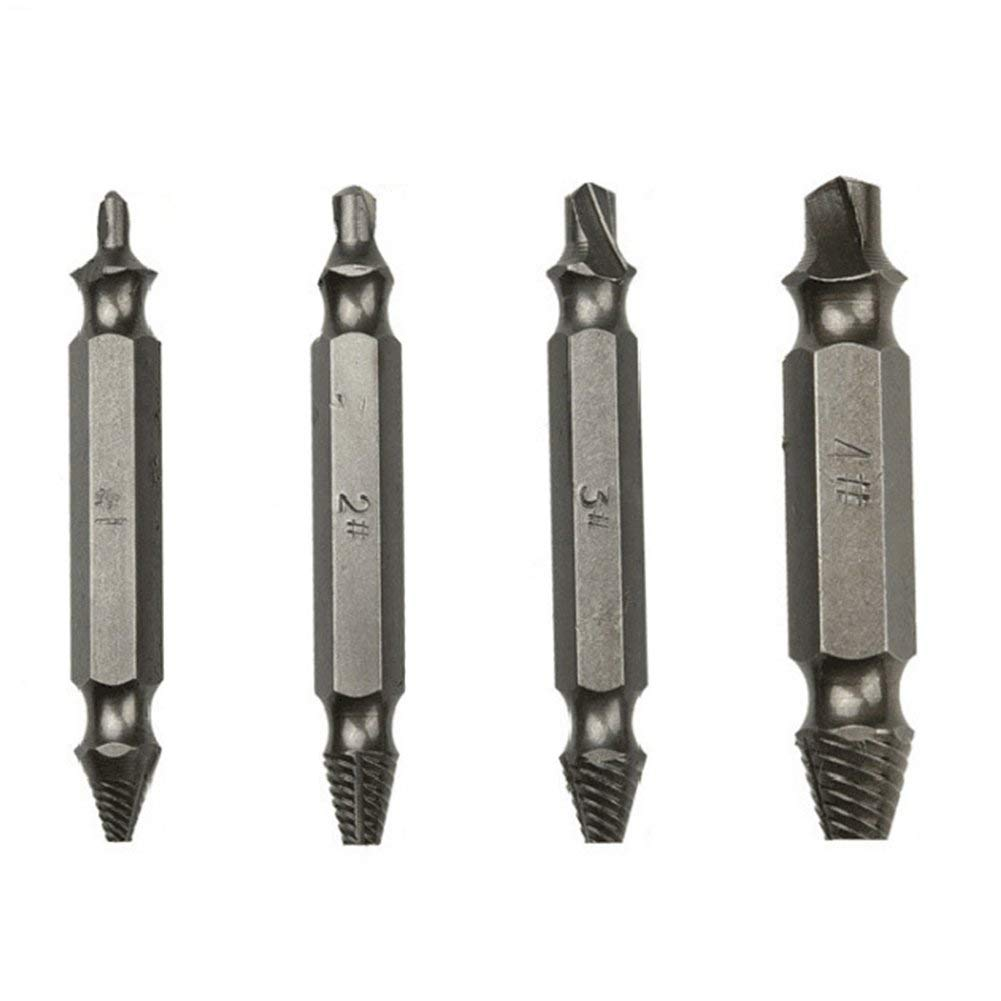 yodaliy Damaged Screw Remover, 4PCS/Set Durable Steel Damaged Screw Extractor Remover with Case by Speed Out Drill Bits Guide Easily Remove Stripped or Damaged Screws