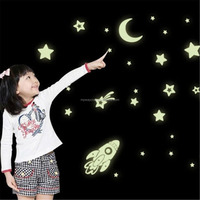 Earth Moon Star Comet Rockets Luminous Wall Art Glow in Dark Decal Sticker for Baby Kid Room