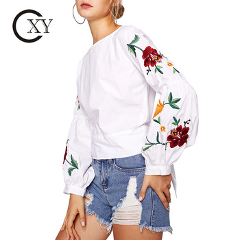 Customize Ladies Botanical Embroidered Long Lantern Sleeve Tie Back Crop Tops