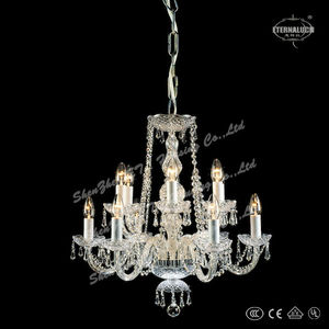 Luxury 12 bulbs Georgian Egypt crystal chandelier lighting with barley twist glass chrome arms ETL88009