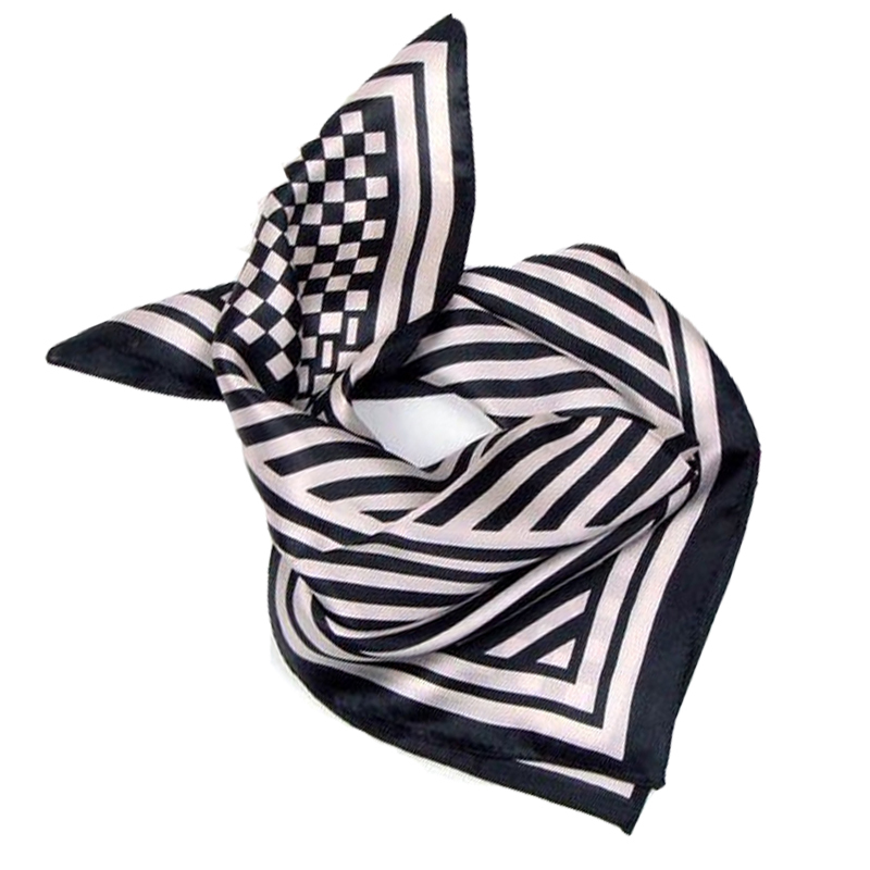 faf860c4f0dd Get Quotations · LING  Retro Black White Stripes Printed Silk Scarf