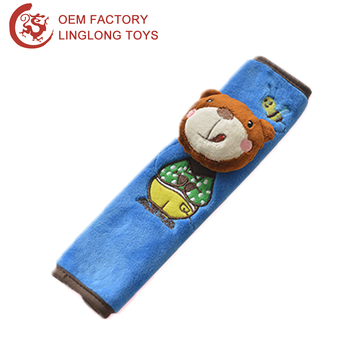 Cartoon Embroidery Seat Belt Cover For Kids Blue Stuffed Animal