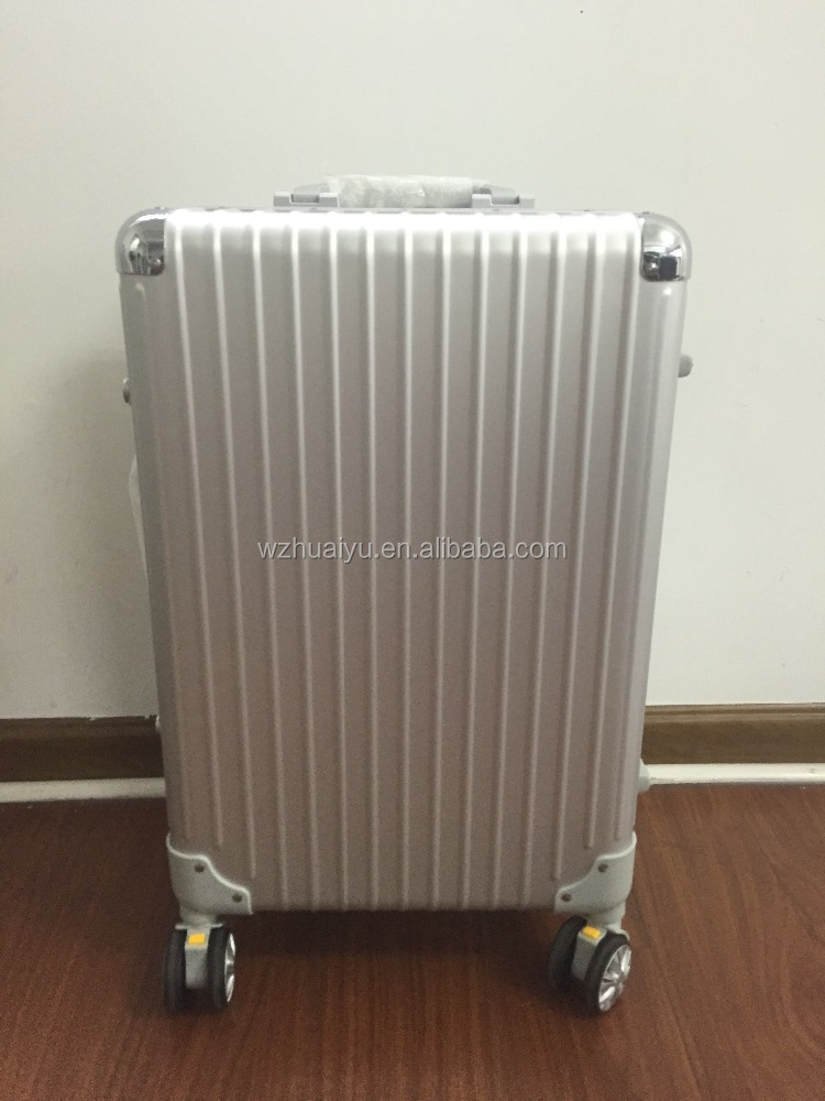 the popular design business travel carry-on full aluminium luggage with double wheel