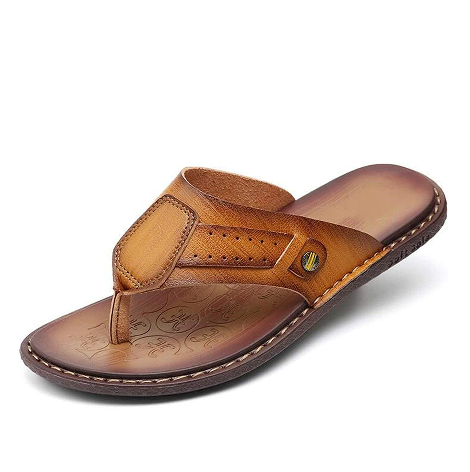 40998c49edbc Get Quotations · Marvin Cook Leather Men Slippers Flip Flops with Soft Sole  Summer Shoes Fashion Beach Sandals Shoes