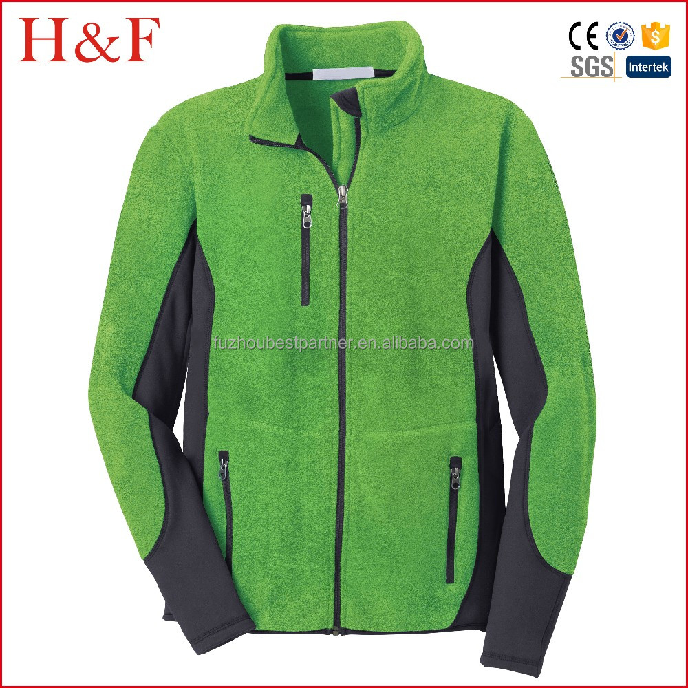 Breathable green black golf fleece jacket for man with chest pocket