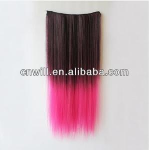 2014 Popular two tone colored hair ombre hair extension hot pink clip in hair extension