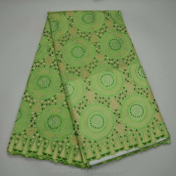 Lime green dry cotton lace 100% Swiss lace fabric with holes African fabrics 5 yards bridal embroidered cotton fabric