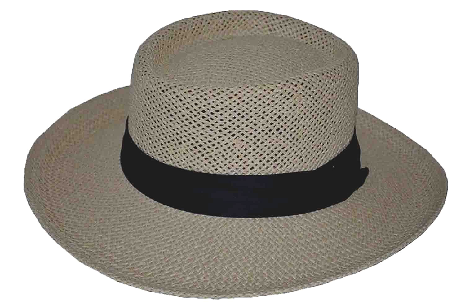 Get Quotations · BKO Straw Gambler Hat with Black Band e0955b5a178f
