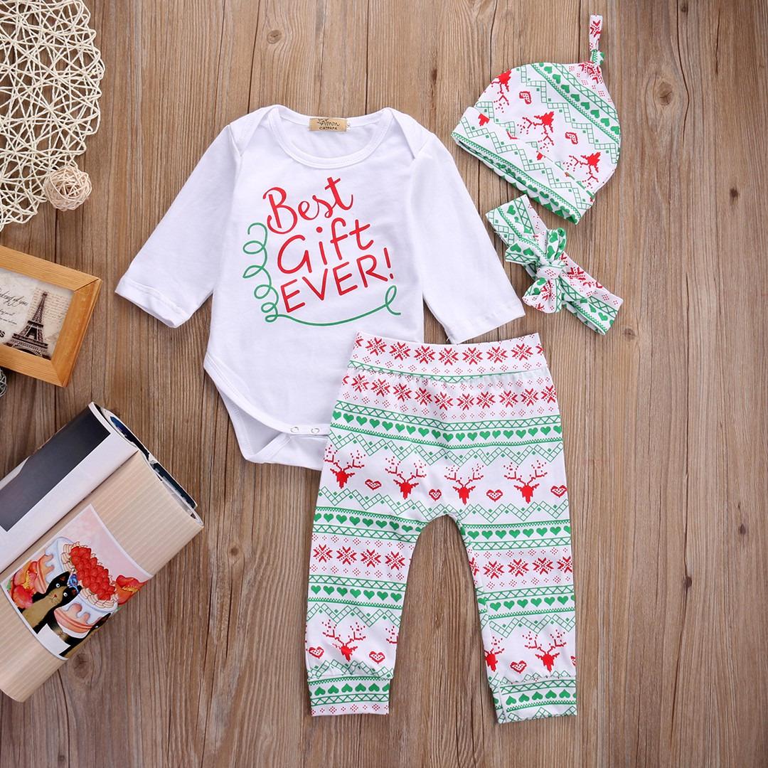 2016 Natal Da Rena Do Bebê Meninas Roupas de Algodão de Manga Longa Romper Chapéu Bodysuit Calças Leggings 4 pcs Roupas Crianças Conjunto de Roupas