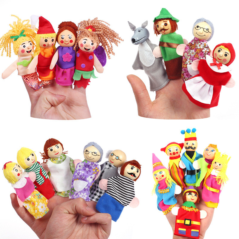 wholesale cheap finger puppets Plush Toy Tell Story Props Cute Cartoon Dolls Hand Puppet For Kids Children Toys