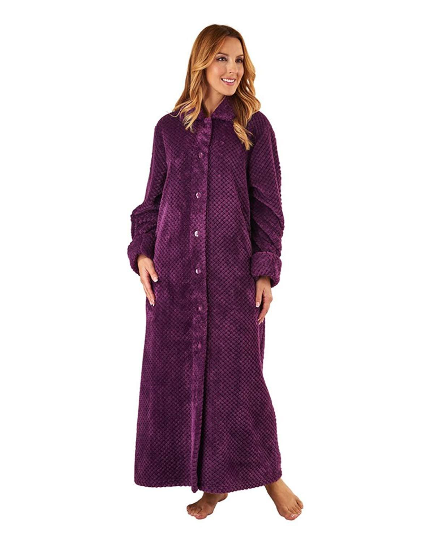 4589a4e155 Get Quotations · Slenderella HC8317 Women s Plum Purple Long Sleeve Dressing  Gown Robe