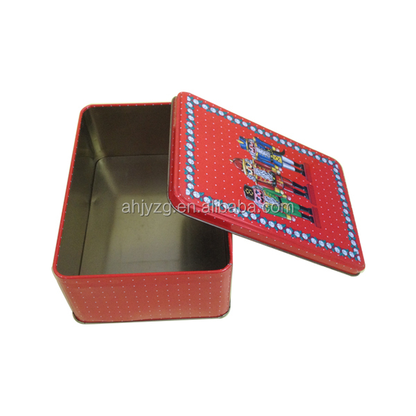 royal soldiers printing rectangular tin box off lid