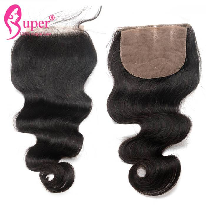 3 Part Silk Base 5x5 Top Lace Closure Pieces 8 inch Peruvian Hair Extensions