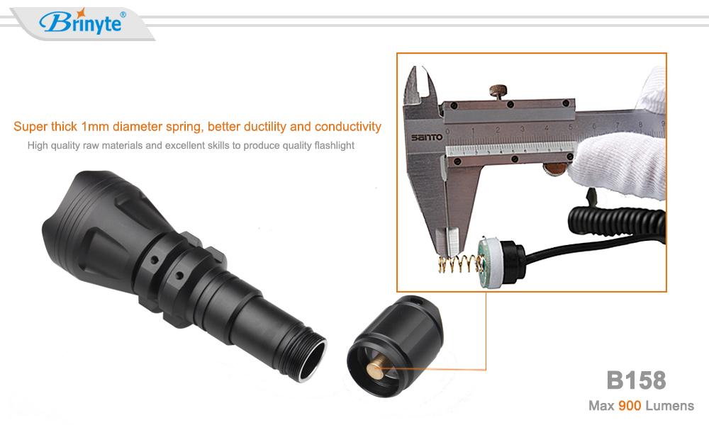 Brinyte newest B158 zoom adjustable led hunting flashlight