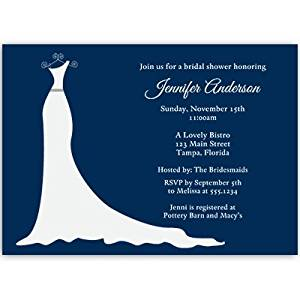 Buy bridal shower invitations dress gown navy blue wedding bridal shower invitations dress gown navy blue wedding couple 10 filmwisefo