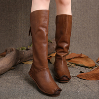 2017 Autumn Winter Back Zip Handmade Shoes Women Boots Vintage Genuine Leather Women Knee High Boots
