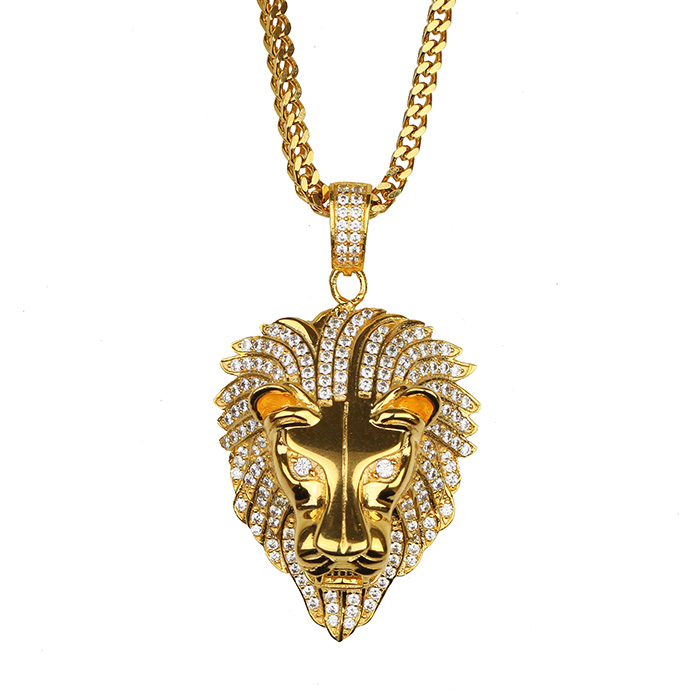 Missjewelry Fashion Necklace Design Hip Hop Pave Zircon Diamond Lion Head Gold Pendant фото
