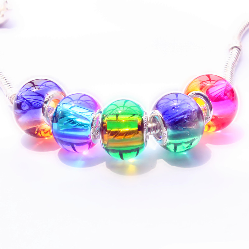 5pcs/lot New arrive european fashion charms murano glass beads fit Pandora style charms braceletss