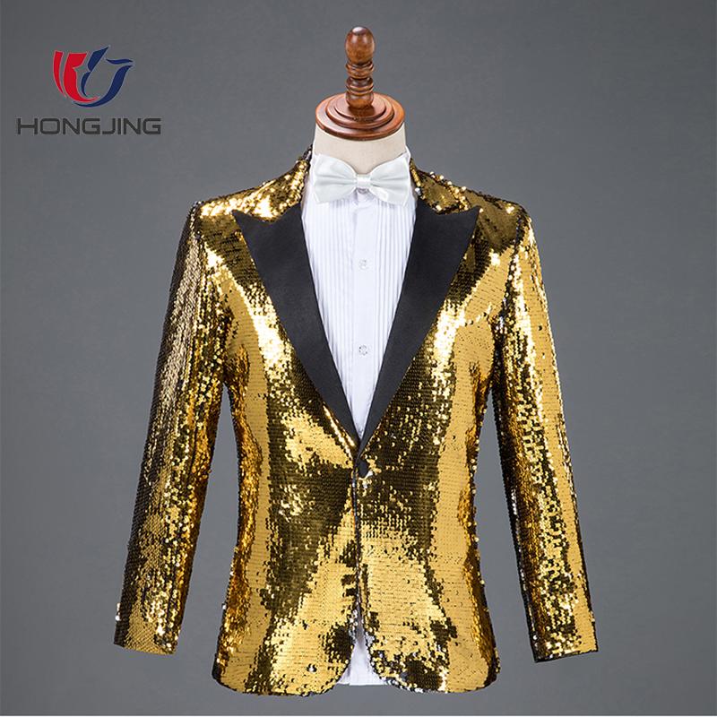 Erkekler fit Sequins Blazers erkek Takım Elbise Gece Kulübü Bar Erkek Şarkıcı Ana Konser Takım Elbise Sahne Kıyafeti Koro Kostümleri A-line düz hem