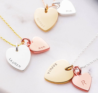 2019 New Collection Personalised Double Heart Charm Necklace