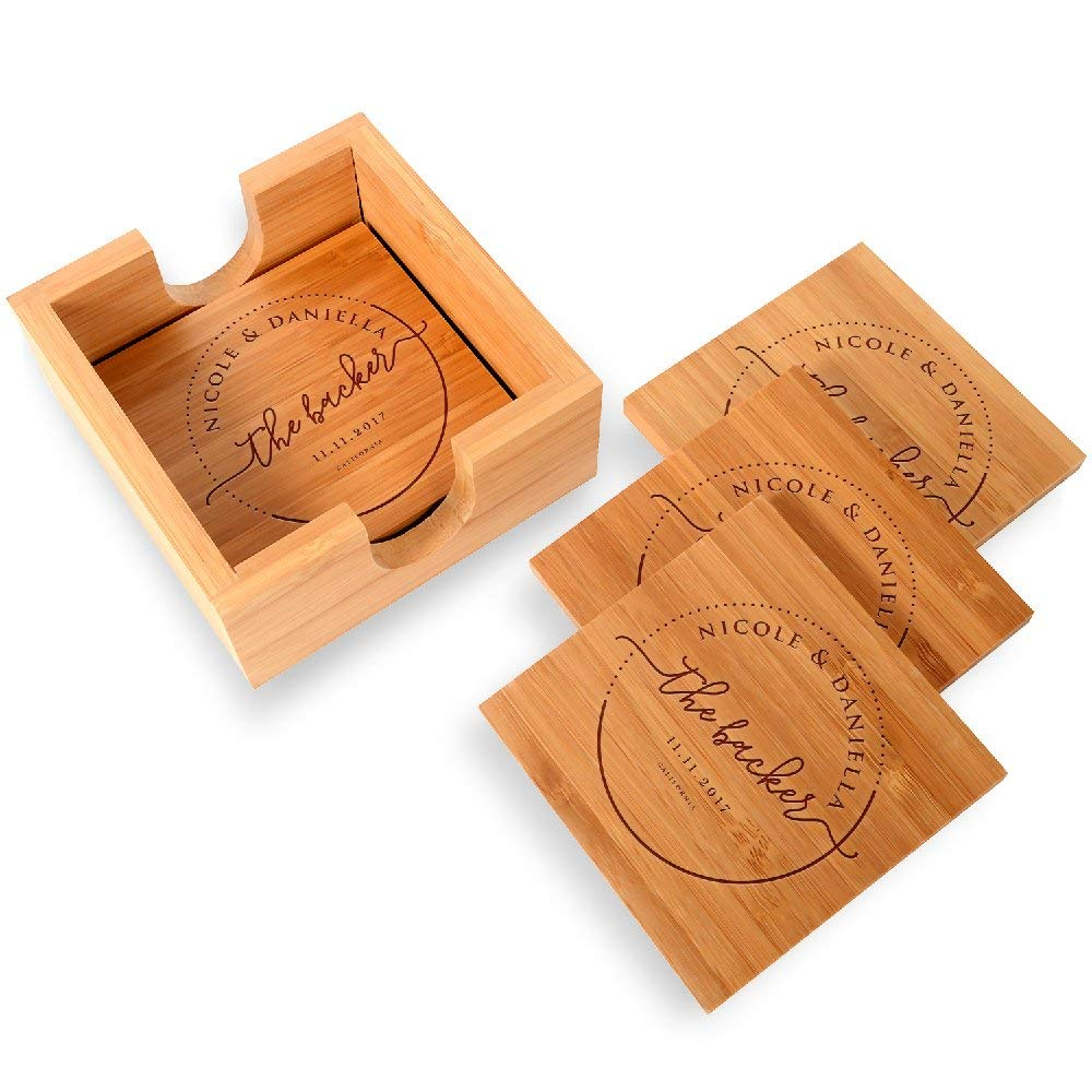 "Be Burgundy - Personalized Name Coaster with Holder - 4 pcs Bamboo 4"" x 4"" Square Personalized Coasters - FREE ENGRAVING - Bamboo Coasters for Drinks with Holders - 1"