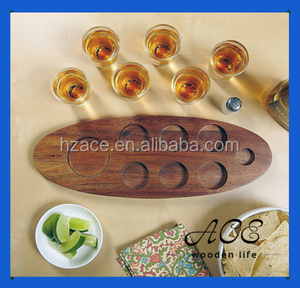 Wooden Serving Tray Glasses Holder Rustic Feel Wood Cups Holder with Hole Kitchenware Beer Tray for Bar