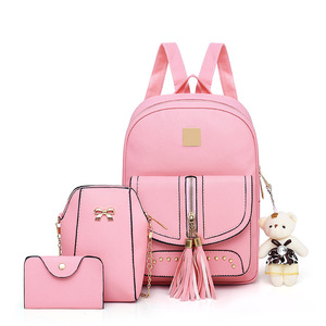 wholesale women pu leather backpack sweet college yound girls ladies set bag  pu 2018 new design 705e4cb3680ef