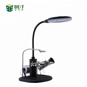 BEST-308L 2.5x/4x Magnifying glass for electronic repairing Electric Soldering Iron Magnifier 16 PCS LED Lamp Holder Table Clip